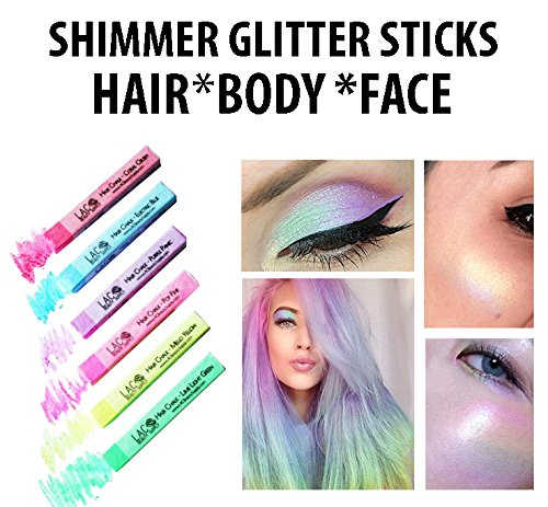 Body Glitter Sticks For Hair Eyes Face Celestial Holographic Glow Shimmer Set Of 6 Colors Unicorn Rainbow Festival Palette