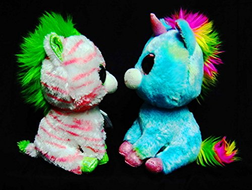 d7ed7bf97b8 Ty Treasure the Unicorn and Sapphire the Zebra Justice Exclusives Beanie Boo  Pair-Retired   Very RARE